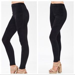 Faux Suede Moto Leggings Black